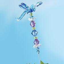 "Shimmering Blue Dragonfly Garden Stake Yard 18"" High Beads"