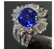 925 Silver Gemstones Sapphire And White Sapphire ring  -#W6-129