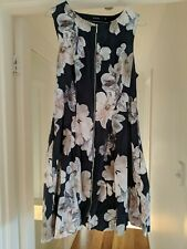 Portmans Size 12 Zipped Front Dress With Pockets - Navy With Floral Print