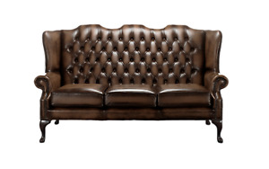 Chesterfield Sofa Carlton Settee 3 Seater Antique Real Leather Made In UK