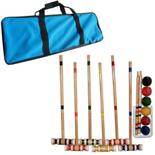Croquet Set Wood Global Trademark 6 Balls Carrying Case Various Mallets Coated