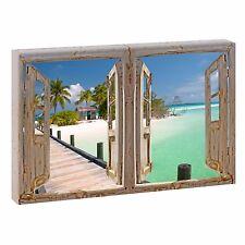Bild auf Leinwand Fensterblick XXL Strand Meer Poster XXL 120 cm*80 cm 204d