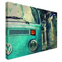 New framed car VW camper van aqua Canvas Wall Art Print Large + Any Size