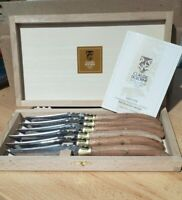 Laguiole Wood Brass Bolster Steak Knives  Exotic Set of 6 Claude Dozorme France