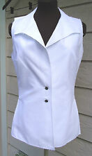 NEW $1355 Authentic Chanel White Sleeveless Blouse Size 40 US 8 Vest