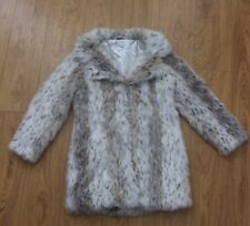 Women's Blue Vanilla Snow Leopard FAUX Fur Coat Size 12