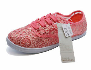 GIRLS KIDS CHILDRENS PINK LACE-UP PLIMSOLL PUMPS CASUAL TRAINER SHOES SIZES 13-5