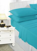 Plain Dyed Polycotton Bedding Double King SuperKing Fitted Sheet Teal Green Jade