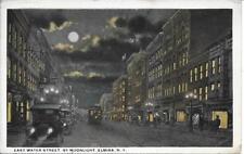 East Water St Moonlight Elmira NY Handsome Vintage postcard postally used 1920