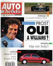 A20- Auto Hebdo N°848 Prost Oui a Williams? Citroen ZX 16 V / Renault 19 16S