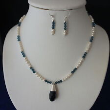 "Beautiful  Necklace Set With Freshwater Pearls And Sunstone Gem 16"" Inches Long"