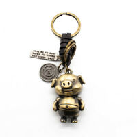 Bronze Tone Cartoon Pig Pendant Key Ring Chain Keychain w Leather Connector