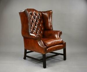 George II Style Brown Leather Hand Dyed Wingback Armchair