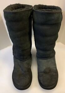 UGG AUSTRALIA Women's Boots Classic Tall 5815 Black Suede Winter Boots Shoes 8