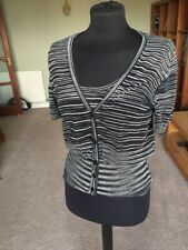 Black & White Stripe Missoni Twinset Vest & Cardigan Size 10