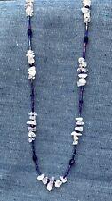 """Handmade Rose Quartz Chip & Blue Glass Bead Necklace 25.5"""" .925 Lobster Clasp"""