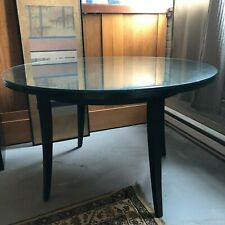 "Vintage 1990s Round 48"" Black Wood Dining Table with Tempered Glass Top"