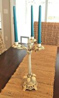 Antique Ornate Victorian Cast Metal 3 Armed Candelabra Cream Shabby Chic