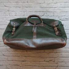 Vintage Orvis Duffle Bag Carry On Green Canvas Brown Leather Travel Battenkill