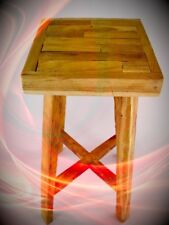 Stool Teak H.75- D.30cm Balcony Garden House Vintage Antique Deco