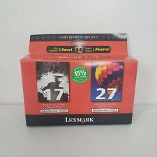 New Sealed Genuine Lexmark 17 & 27 Ink Cartridges Combo Pack Black & Color OEM