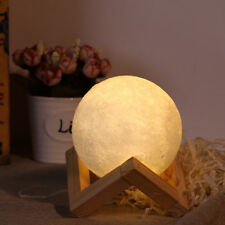 8CM 3D Printing Moon Touch LED Desk Table Lamp Home Light USB Rechargeable White