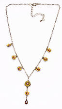 PRECIOUS ORANGE DAISY LUCKY CHARM NECKLACE ON GOLD METAL ADJUSTABLE CHAIN(ZX28)