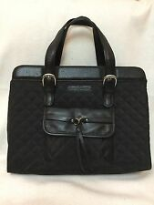 Bramble & Brown Large Black Leather Quilted Briefcase Laptop Work Bag