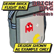 Brick Flight Bag - School Bag Shoulder Bag Travel - Denim and Black