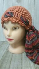 Persimmon orange  scarf cancer hair loss chemo hat crochet womans hand made