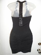Sky Clothing Brand S Mini Dress Black Rhinestone Crystal Bodycon Party Club LBD
