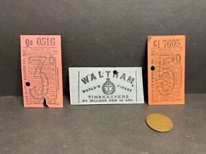 3 Vintage London Bus Tickets, One Advertising Waltham Watches