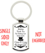 Personalised Wedding Day Thank You KEY RING Best Man Usher Supplied W/ Gift Box