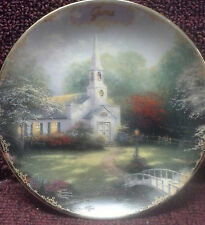 Thomas Kinkade Simpler Times Plate June Hometown Chapel limited edition