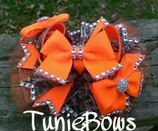 Blaze Orange & Camouflage Stacked Boutique Hair Bow, girls, country, bling