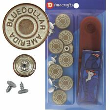 17 mm No-Sew Replacement Jean Tack Buttons w/Tool (07016)  8 CT.