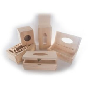 Selection of Wooden Tissue Boxes For Craft Decoupage To Decorate Plain Pinewood
