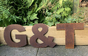 10 Inch Rust Letters G&T Rustic Sign