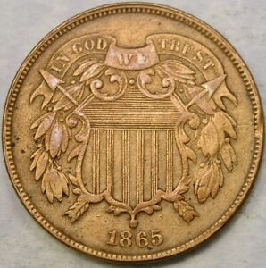 1865 TWO CENT PIECE APPEALING CIRCULATED W/BOLD FULL MOTTO—CHECK STORE FOR MORE!