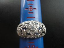 Beautiful Artificial Diamonds Sterling Silver Ring Size 9 7.4 Grams