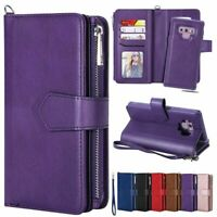 For Samsung Note10 S8 S9 Plus Note8 9 Removable Leather Zipper Wallet Strap Case