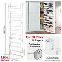 Over The Door Shoe Rack For 36 Pair Wall Hanging Closet Organizer  Space Saving