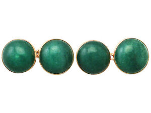 Antique Moss Agate and 9k Yellow Gold Cufflinks Circa 1920