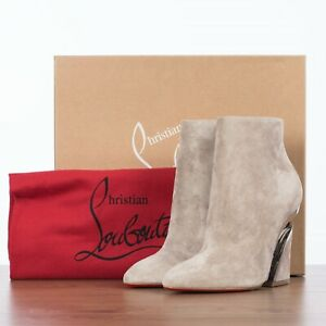 CHRISTIAN LOUBOUTIN 1295$ LEVITIBOOTIE 100 In Gray Suede With Transparent Heel