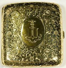Antique DuPONT Crest 14K Solid GOLD Cigarette Case Wood & Chatellier NY c1904-24