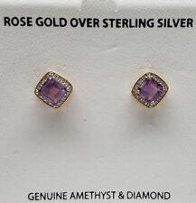 Genuine AMETHYST Gemstone 18K ROSE GOLD 925 STERLING SILVER Stud Earrings >NEW<
