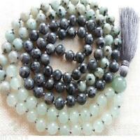 8mm Green jade Labradorite Gemstone 108 Beads knot Necklace Lucky Chakas Wrist