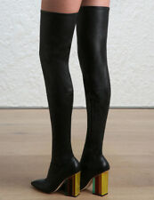 Zimmermann Stretch Thigh Boots Black Black Leather, Sock,Point, Block  $1,795 RP