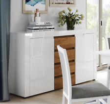 Calvino High Gloss White & Walnut Wide Sideboard Buffet B45 Lounge Furniture