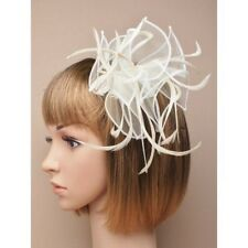 Cream Looped Chiffon Fabric & Feather Fascinator on Clear Comb